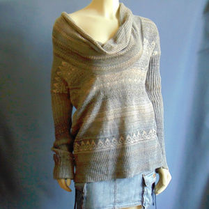Free People FairIsle Cowlneck Slouchy Sweater M